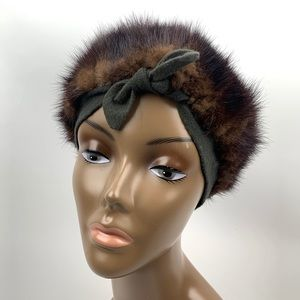 VTG 1940's genuine mink turban beret hat with bow